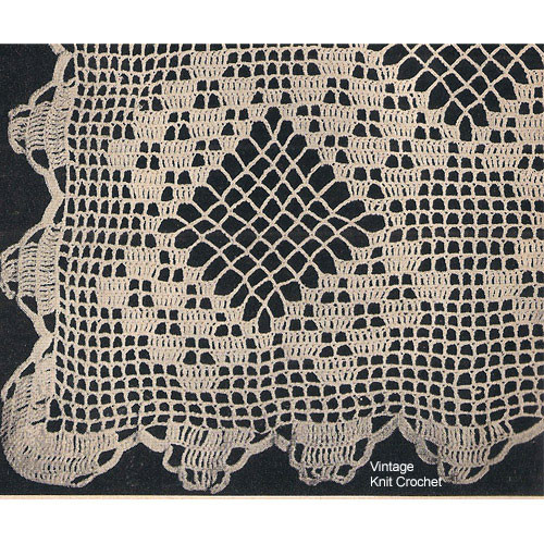Filet Crochet Diamond Tablecloth pattern from Workbasket