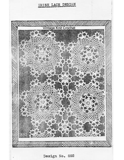 Irish Lace Crochet Medallion Pattern Design 892