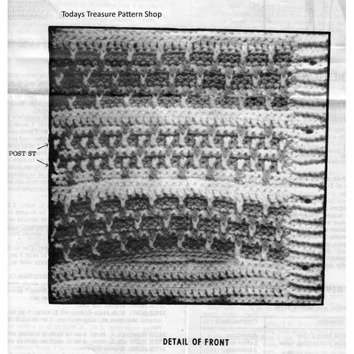 pattern stitch for mans crochet sleeveless jacket pattern