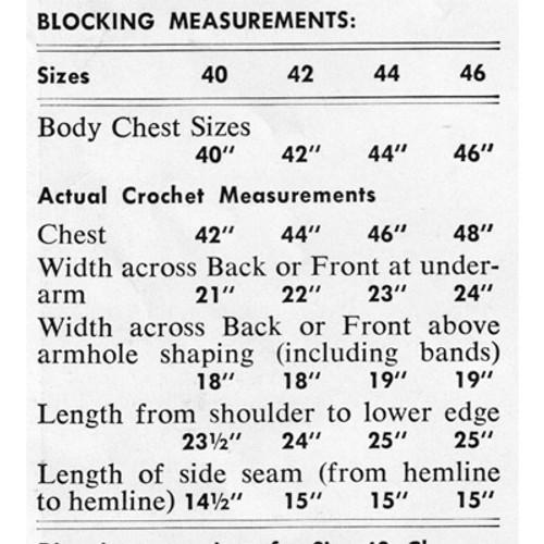 Blocking Measurements for Mans Crochet Vest