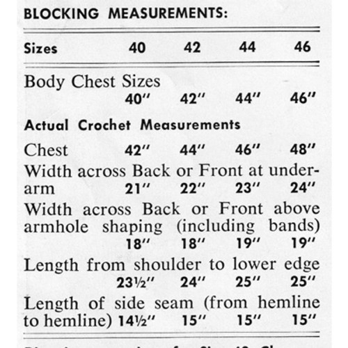 Blocking Measurements for Mans Crochet Vest
