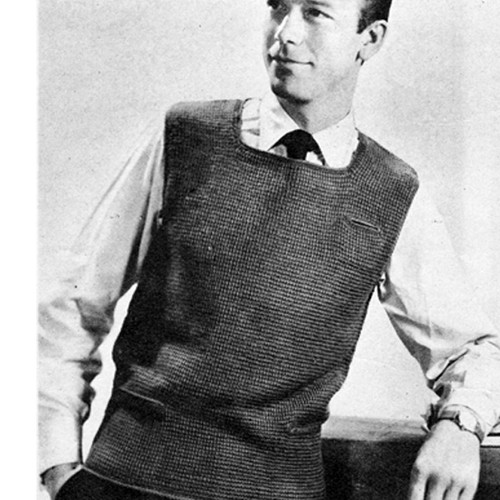 Mans Vintage Square Neck Sleeveless Pullover Pattern