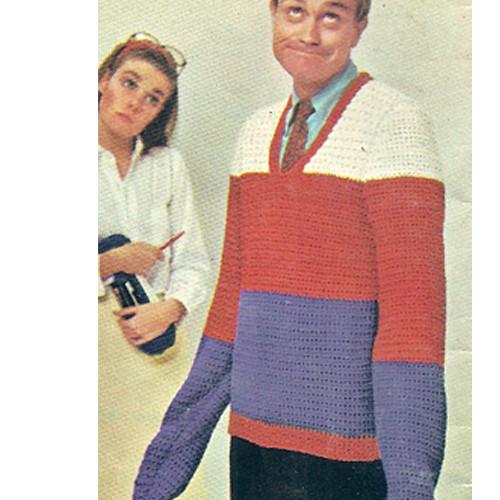 Vintage 1960s Mens Striped Sweater Pattern