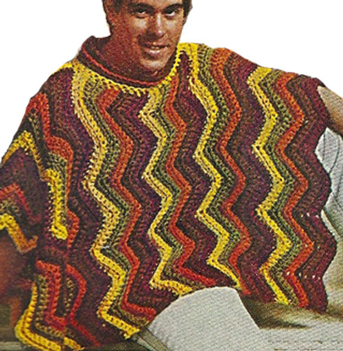 Easy Ripple Poncho Crochet Pattern in four colors heavy rug yarn
