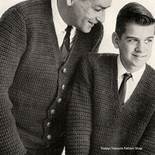 V-Neck Crocheted Cardigan Pattern, Father & Son