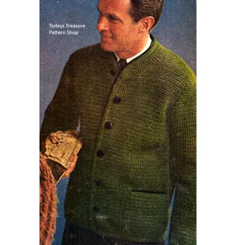 Mans Crochet Cardigan Pattern, Vintage 1960s