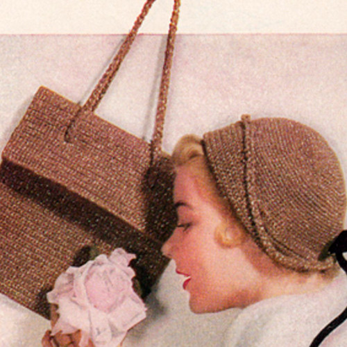Crochet Cloche with Handbag Pattern, Vintage 1960s