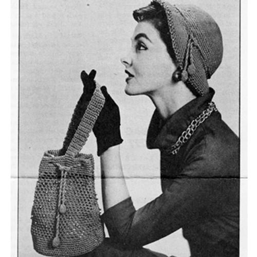 Crochet handbag and hat pattern from National Needlecraft