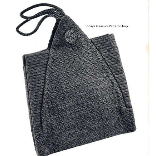 Square Crochet Envelope Bag Pattern, Vintage 1930s