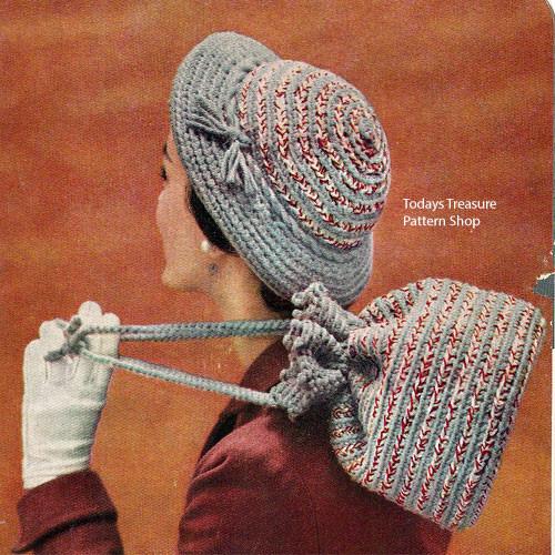 Crochet Brimmed Hat and Drawstring Handbag Pattern