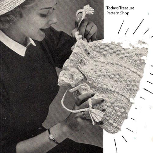 Vintage Popcorn Stitched Drawstring Bag Pattern