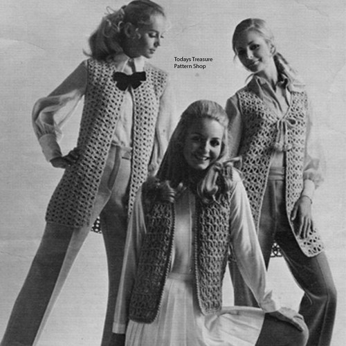 Patons Leaflet 2079, Three Crocheted Vests