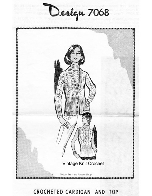 Crochet Cardigan Pattern, Shell Turtleneck, Alice Brooks 7068
