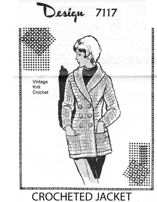 Crochet Double Breasted Coat Pattern, Design 7117
