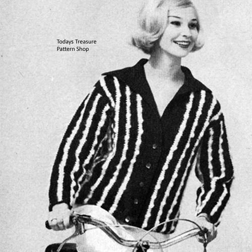Striped Crochet Jacket Pattern in Popcorn Stitch
