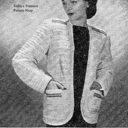 Crochet Jacket Pattern with Pockets