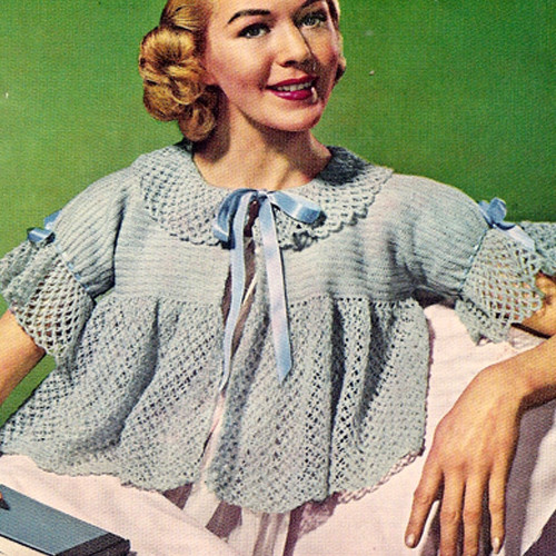 Vintage Bed Jacket Crochet Pattern with Ribbon Ties
