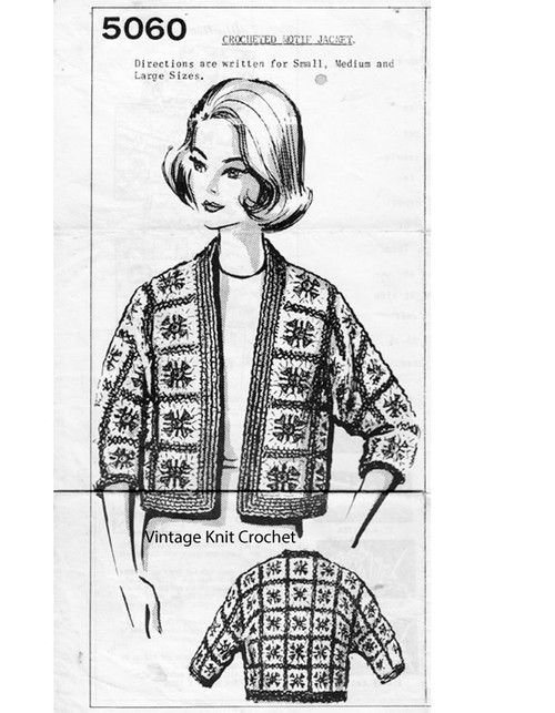 Crochet Afghan Block Jacket Pattern Mail Order 5060