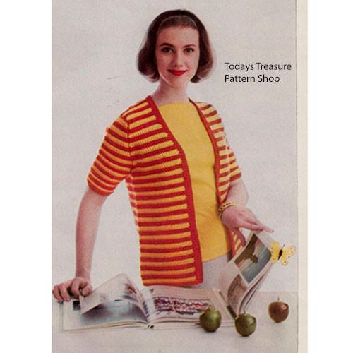 Vintage Striped Cardigan Crochet Pattern