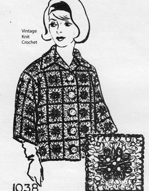 Vintage Granny Square Crochet Jacket Pattern, Martha Madison 1038