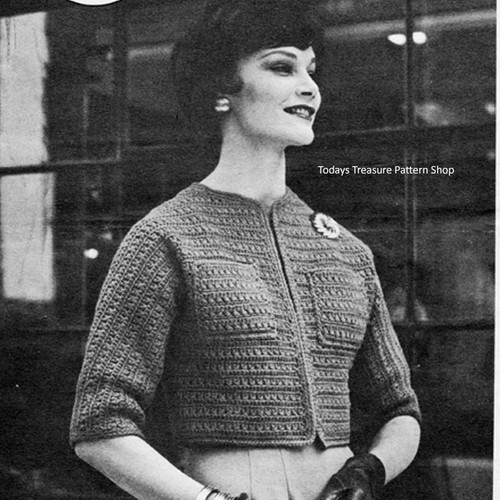 Short Jiffy Crochet Jacket Pattern, Vintage 1960s