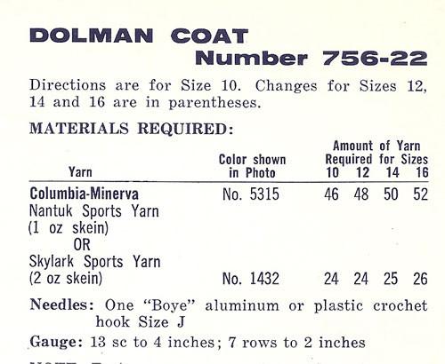 Columbia Minerva Crochet Size Charts