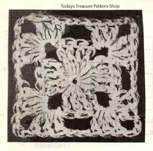 Crochet Flower Square Pattern for Jacket