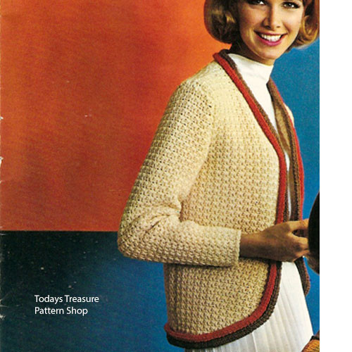 Crochet Cardigan Pattern, Rounded Front and Contrast Trim