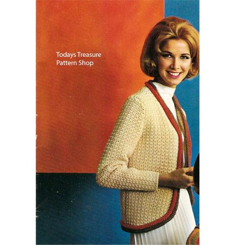 Contrast Trimmed Crochet Cardigan Pattern