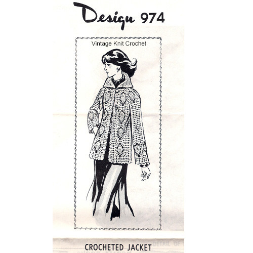 Womans Pineapple Crochet Jacket Pattern Design 974