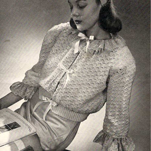 Crochet Bed Jacket Pattern with Ruffled Collar