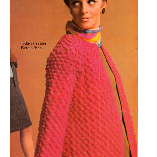 Long Crochet Coat Pattern in Popcorn Stitch