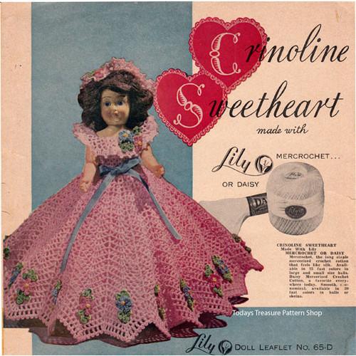 Crinoline Sweetheart Crochet Doll Dress Pattern
