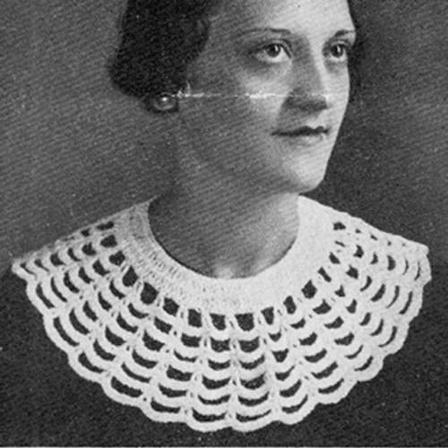Large Web Crochet Collar Pattern, Vintage 1930s