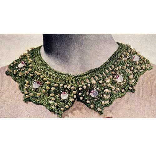 Crochet Scalloped Beaded Collar Pattern
