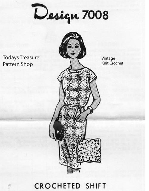 Crocheted Dress Pattern, Flower Medallions, Design 7008