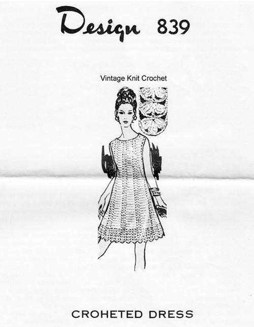 Crochet Sleeveless Dress Pattern, Design 839