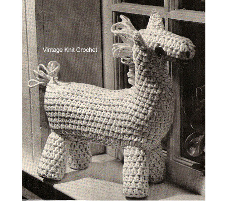 Vintage Crochet Stuffed Horse Toy Pattern is 14 inches tall
