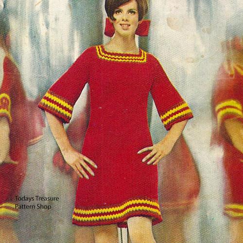 Bell Sleeve Crochet Mini Dress Pattern
