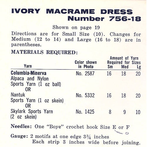 Ivory Macrame Dress Crochet Materials