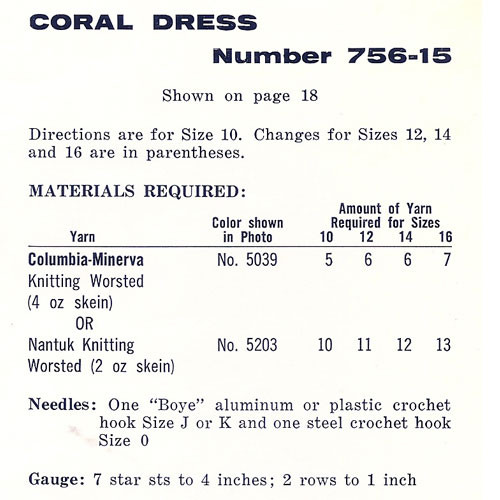Coral Crochet Dress Size Chart