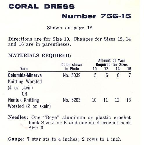 Coral Crochet Dress Size Chart