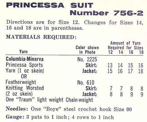 Princess Suit Crochet Material Requirements