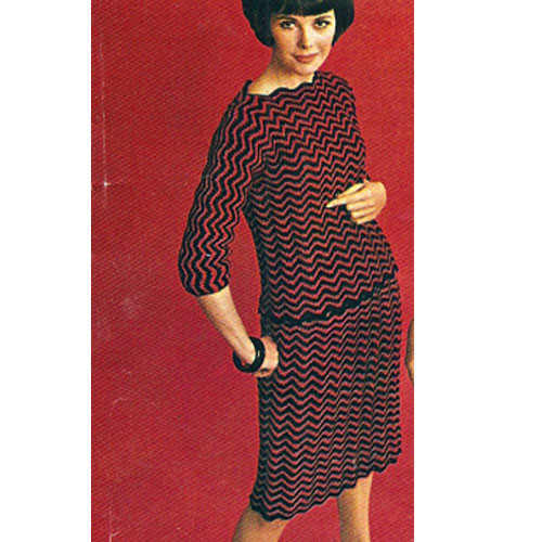 Crocheted Ripple Dress Pattern, Vintage 1960s