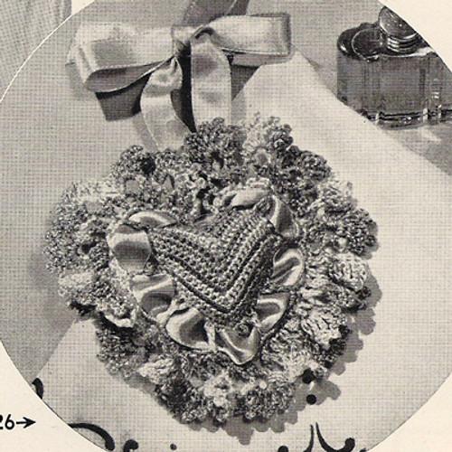 Crochet Ruffled Heart Sachet Pattern