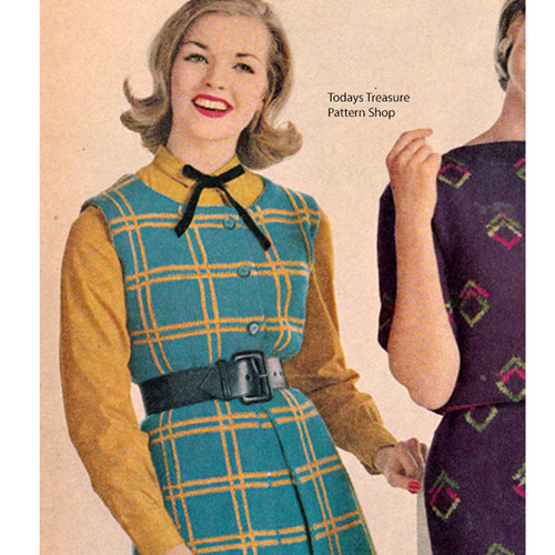 Vintage Knitted Plaid Jumper Pattern
