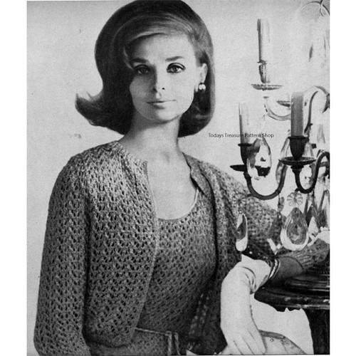 Crochet Evening Dress Knitting Pattern with Shrug