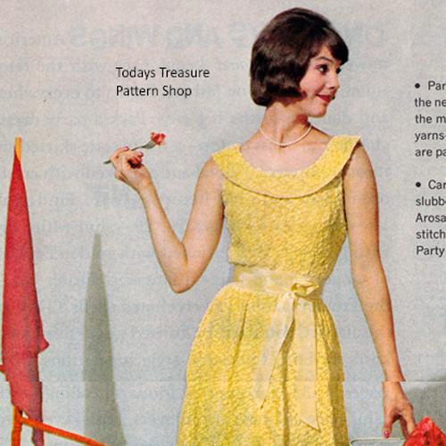 Knitted Low Neckline Dress Pattern, Vintage 1960s