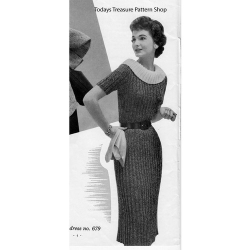 Ribbed Sheath Knitting Pattern, Vintage 1950s