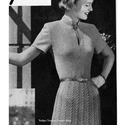 Vintage Knit Cable Dress Pattern